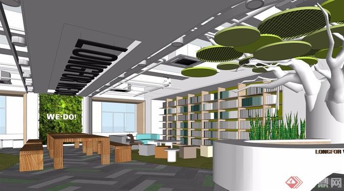 现代办公前台大厅休息区设计su模型