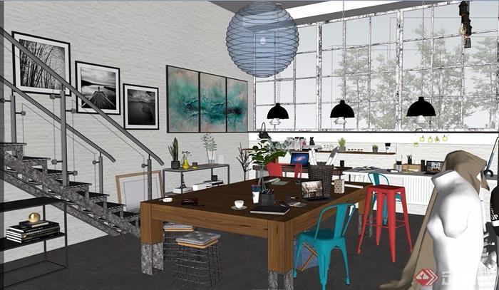 loft现代工作室装饰设计su模型