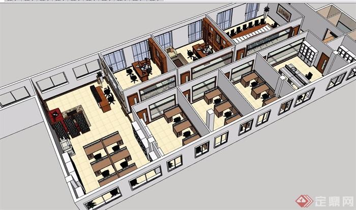 企业办公室整体SU模型