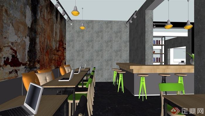 现代办公室详细完整装饰设计su模型