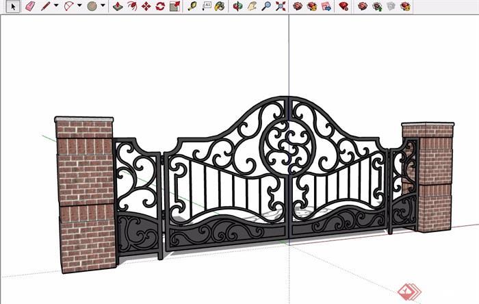 欧式风格详细的小区大门素材设计su模型