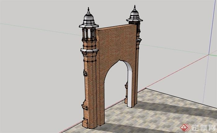 欧式独特造型的大门素材设计su模型
