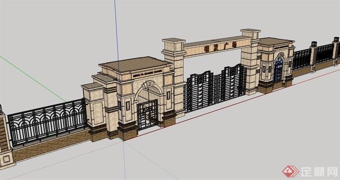 欧式风格豪华详细的大门素材设计su模型