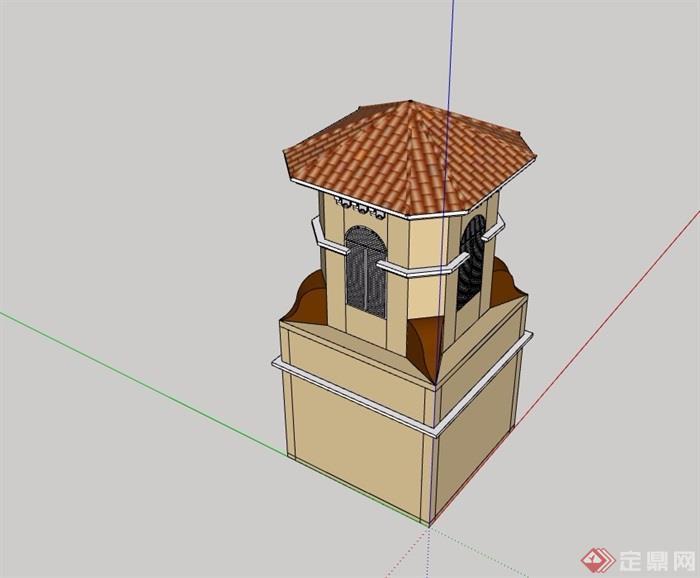 欧式风格详细的完整岗亭素材设计su模型
