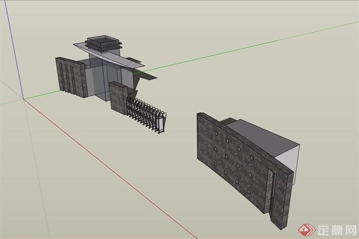 某详细的学校完整大门素材设计su模型
