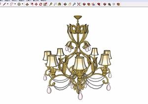 某详细的完整欧式风格室内吊灯装饰设计SU(草图大师)模型