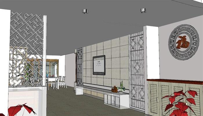 中式住宅室内设计装修su模型工装施工图cad效果图(2)