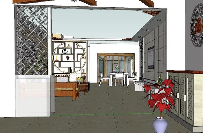中式住宅室内设计装修su模型工装施工图cad效果图(3)