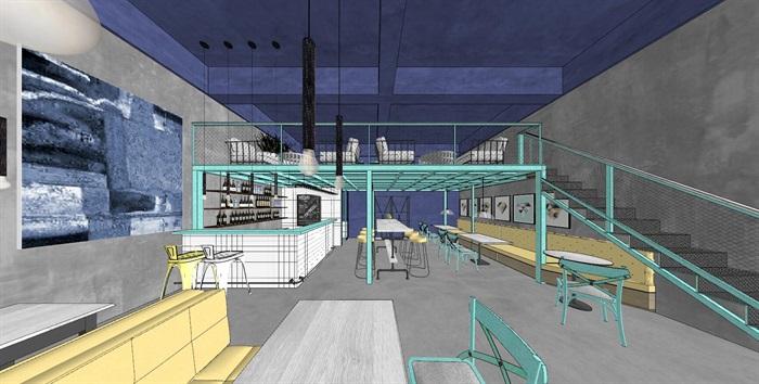 清新工业风LOFT酒吧咖啡厅室内设计(1)