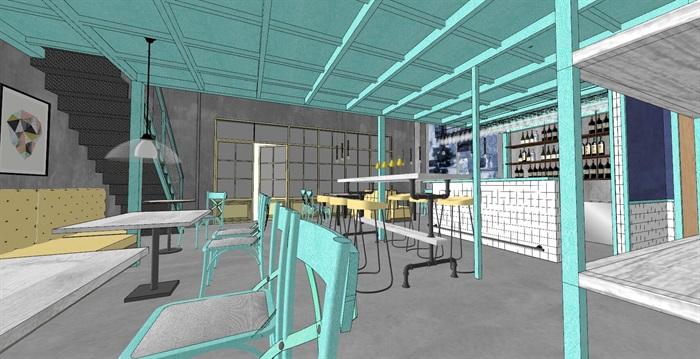 清新工业风LOFT酒吧咖啡厅室内设计(3)