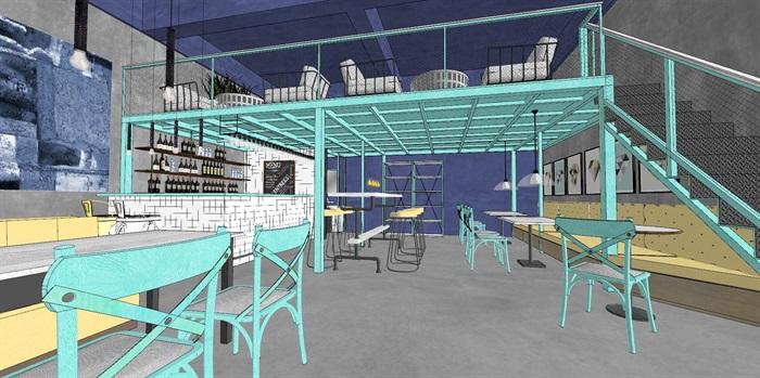 清新工业风LOFT酒吧咖啡厅室内设计(4)