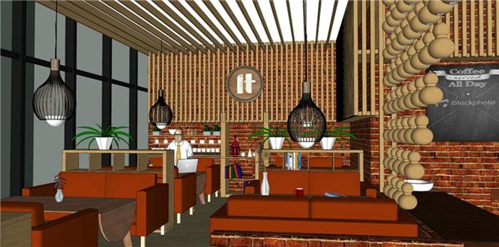 欧式风格红砖咖啡厅奶茶店(4)
