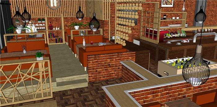欧式风格红砖咖啡厅奶茶店(12)