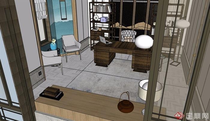 中式风格详细的室内书房空间设计su模型