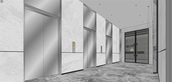 现代简约式风格开放式大型办公室商务办公内部设计(1)