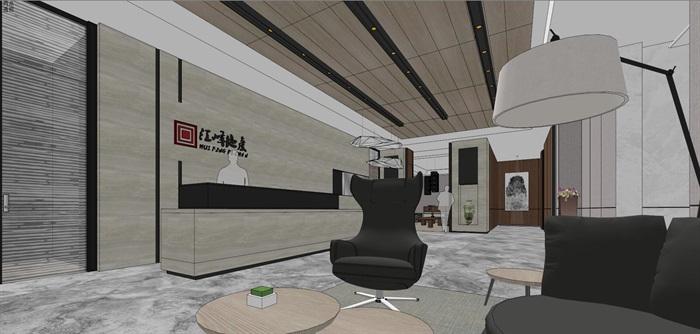 现代简约式风格开放式大型办公室商务办公内部设计(3)