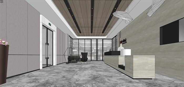 现代简约式风格开放式大型办公室商务办公内部设计(4)