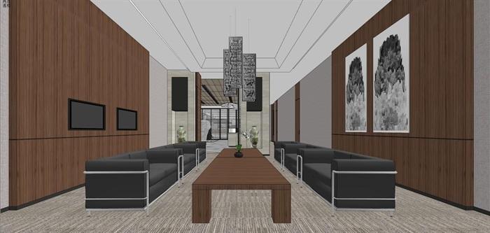 现代简约式风格开放式大型办公室商务办公内部设计(6)