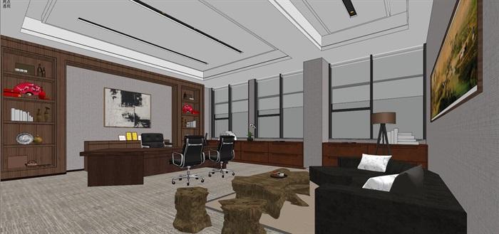 现代简约式风格开放式大型办公室商务办公内部设计(9)