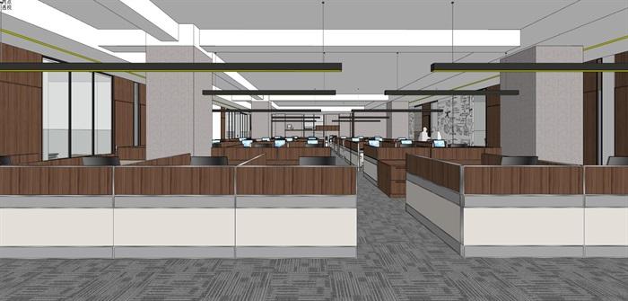现代简约式风格开放式大型办公室商务办公内部设计(11)