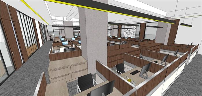 现代简约式风格开放式大型办公室商务办公内部设计(12)