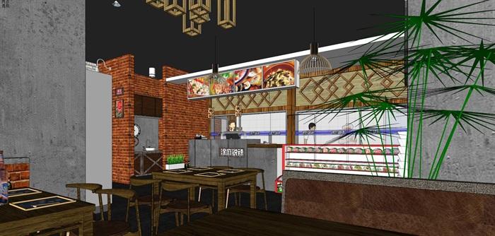 麻辣烫小吃店店铺室内设计(3)