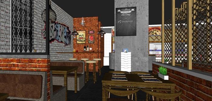 麻辣烫小吃店店铺室内设计(5)