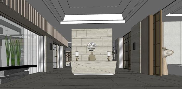 高端典雅风格售楼中心售楼处接待中心室内设计(1)