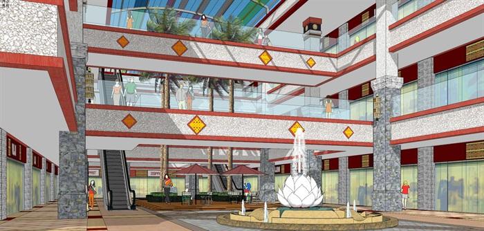 藏式风格玻璃顶棚商业街中庭室内设计(3)