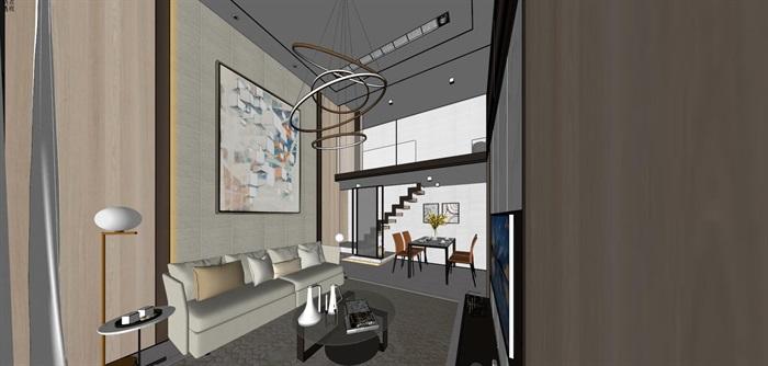 现代简约风精装LOFT住宅公寓室内设计(1)