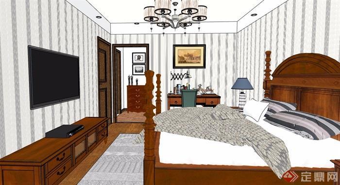 详细的完整主卧室空间设计su模型