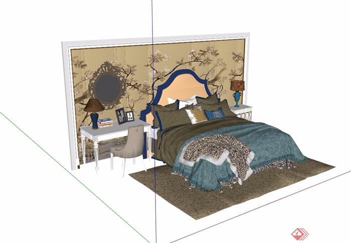 某详细的完整卧室床室内素材设计su模型