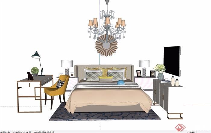 详细的完整卧室床室内素材设计su模型