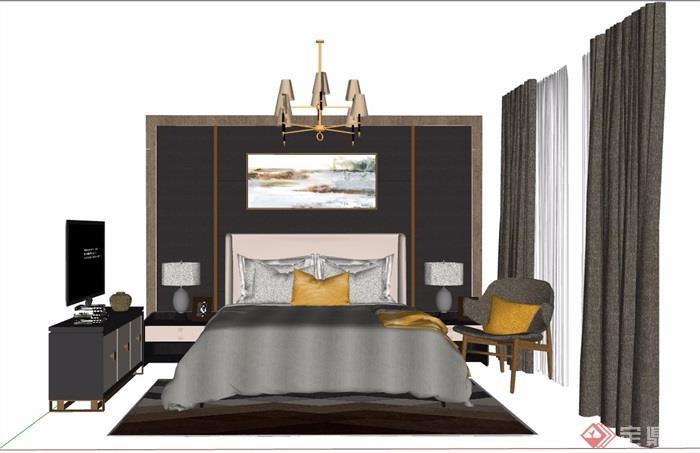 某详细的室内卧室床柜、桌椅素材设计su模型