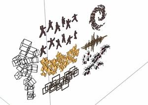 七种不同独栋详细墙面装饰品素材设计SU(草图大师)模型