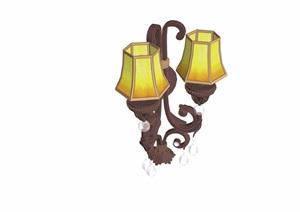 欧式风格详细的完整室内壁灯素材设计SU(草图大师)模型