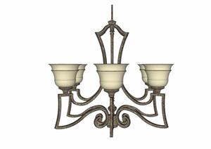 欧式风格室内吊灯素材设计SU(草图大师)模型