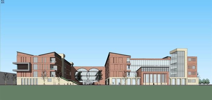 现代创意红砖表皮初中高中学校校园规划设计(4)