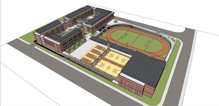 现代创意红砖表皮中小学校园规划设计(1)