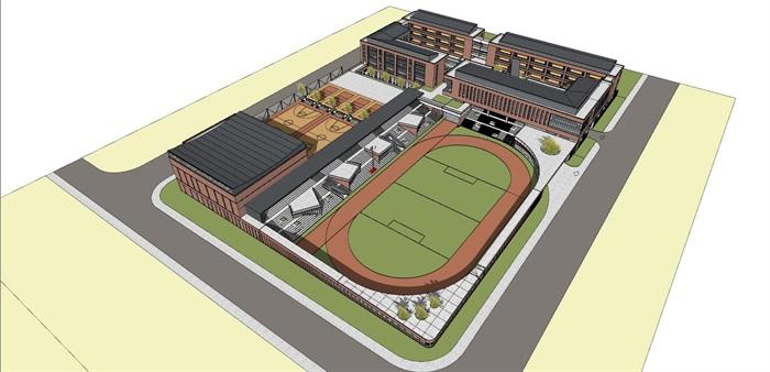 现代创意红砖表皮中小学校园规划设计(2)