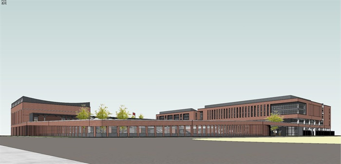 现代创意红砖表皮中小学校园规划设计(3)