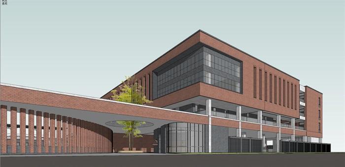 现代创意红砖表皮中小学校园规划设计(6)