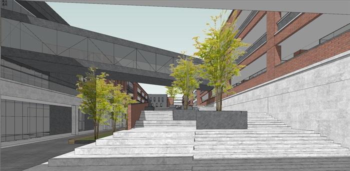 现代创意红砖表皮中小学校园规划设计(7)