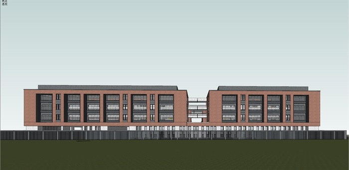 现代创意红砖表皮中小学校园规划设计(11)