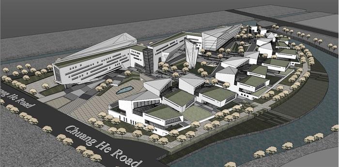 上海浦东软件园办公楼0.47产业园+su模型+3d(1)