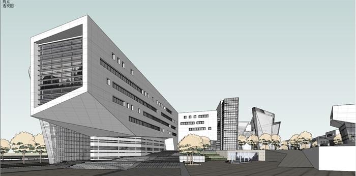 上海浦东软件园办公楼0.47产业园+su模型+3d(2)