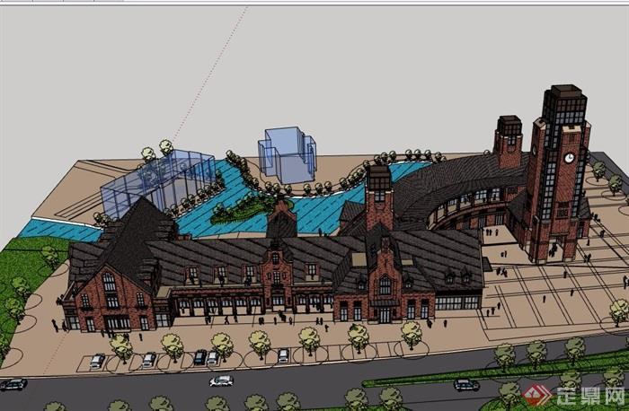 英式风格多层详细的商业街建筑楼su模型