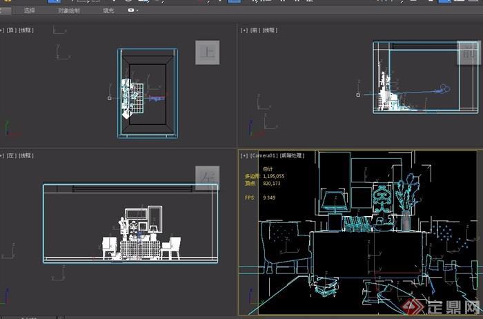 某详细的完整室内沙发柜子、桌子素材设计3d模型