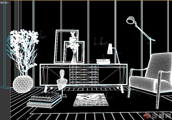 现代简约室内桌椅柜子组合素材设计su模型