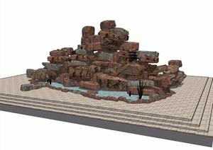 假山详细的水池素材设计SU(草图大师)模型